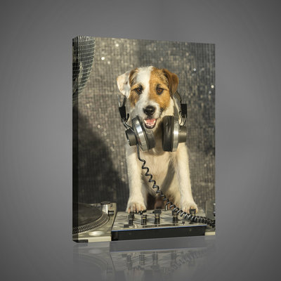 DJ Disco Dog with Headphones  Canvas Schilderij PP10383O4