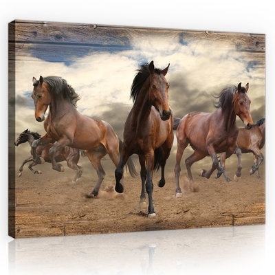 Galloping Horses on Wooden Planks Canvas Schilderij PP10083O4