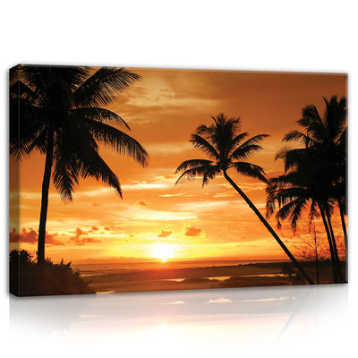 Palms in the Sunset Light Canvas Schilderij PP10237O4