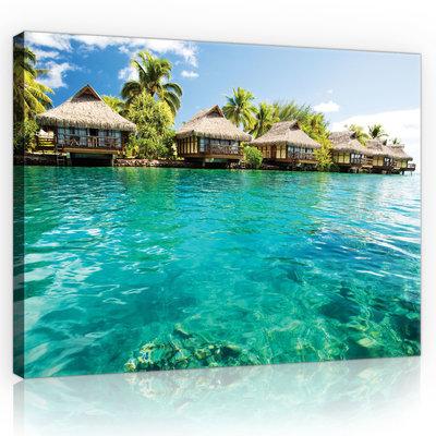 Maldives - Houses and Ocean Canvas Schilderij PP10228O4