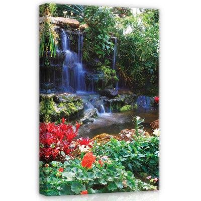 Waterfall in Colourful Jungle Canvas Schilderij PP20012O4