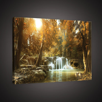 Waterfall in the Autumn Forest Canvas Schilderij PP10470O4
