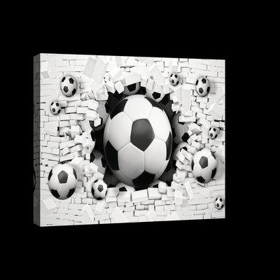 3D Footballs in Brickwall Canvas Schilderij PP20107O4
