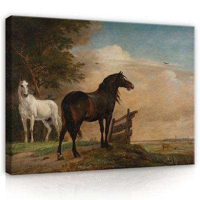 Rijksmuseum Canvas Twee paarden in de wei bij een hek RMC67