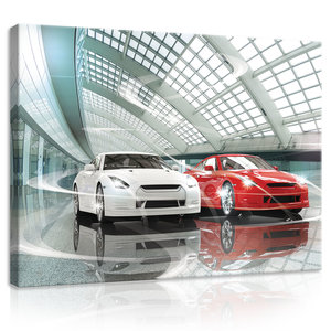 Luxurious Cars Showroom  Canvas Schilderij PP20257O1