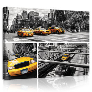 Yellow Cabs Collage Canvas Schilderij PP20243O1