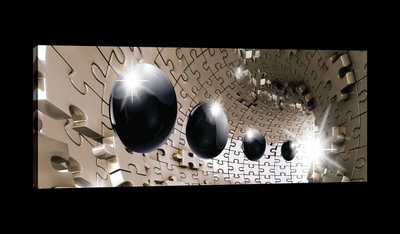 3D Puzzle Tunnel with Black Spheres Canvas Schilderij PP20160O3