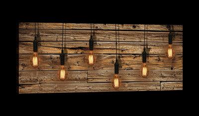 Light Bulbs on Wood Planks Canvas Schilderij PP20136O3