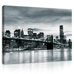 New York City and Brooklyn Bridge Canvas Schilderij PP20079O1