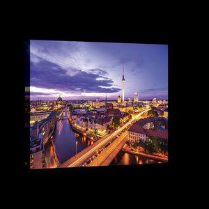 Berlin Panorama at Night Canvas Schilderij PP20084O4