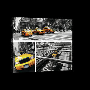 Yellow Cabs Collage Canvas Schilderij PP20243O4