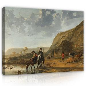Rijksmuseum Canvas Rivierlandschap met Ruiters RMC52